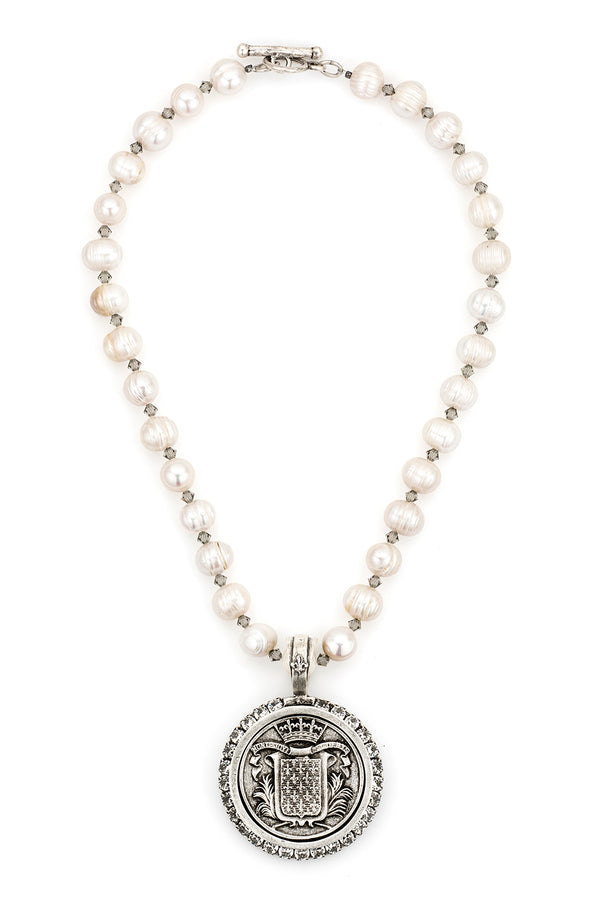 PEARLS AND SWAROVSKI WITH MONT JOYE MEDALLION by French Kande - ShopMINQ