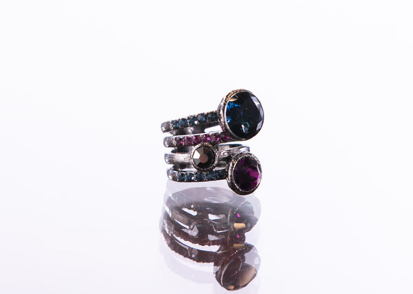 Stacked Swarovski Ring by Escape from Paris