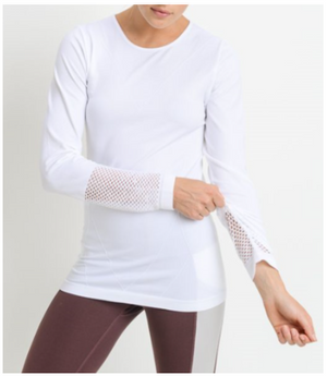 Fabulous Fishnet Back White Long Sleeve Top by MINQ