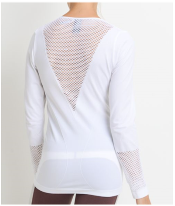 Fabulous Fishnet Back White Long Sleeve Top by MINQ - ShopMINQ