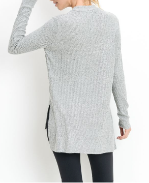 Ribbed Hi-Low Long Sleeve Sweater by MINQ - ShopMINQ