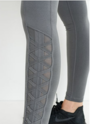 Highwaist Hybrid Mesh & Lattice Straps Full Pocket Leggings by MINQ - ShopMINQ