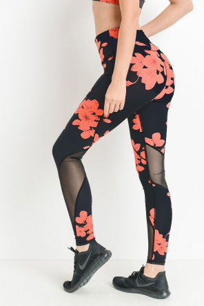 Hibiscus High-waist Leggings with Mesh inserts by MINQ - ShopMINQ