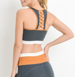 Lattice Back Triple Color Racerback Sports Bra by MINQ - ShopMINQ