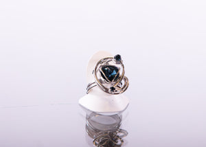 Austrian Swarovski Brilliant Blue Multi Gem Ring Made in Italy by Malu Bijoux - ShopMINQ