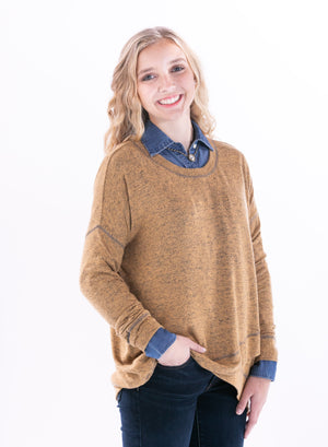 Mustard Knit Oversize Sweater by Staccato - ShopMINQ
