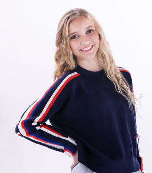 Navy  Crop Sweater w/ Stripes by TCEC - ShopMINQ