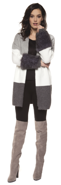 Open Colorblock Cardigan w/ Faux Fur by Black Tape - ShopMINQ