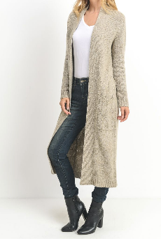 Open Front Knit Taupe Cardigan by MINQ - ShopMINQ