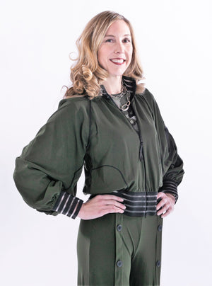 On-Trend Bomber Jacket With Detail Sleeves by Petit Pois