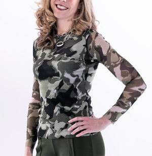 Long Sleeve Crew Camo Top by Petit