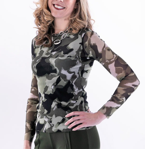 Long Sleeve Crew Camo Top by Petit - ShopMINQ