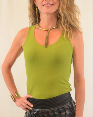 Bra Friendly Long Lean Scoop Tank by Petit Pois - ShopMINQ