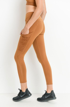 Moto Ribbed Pocket Leggings w/ Mesh Inserts by MINQ - ShopMINQ
