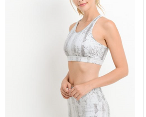 Serpentine Print Low Racerback Sports Bra  by MINQ - ShopMINQ
