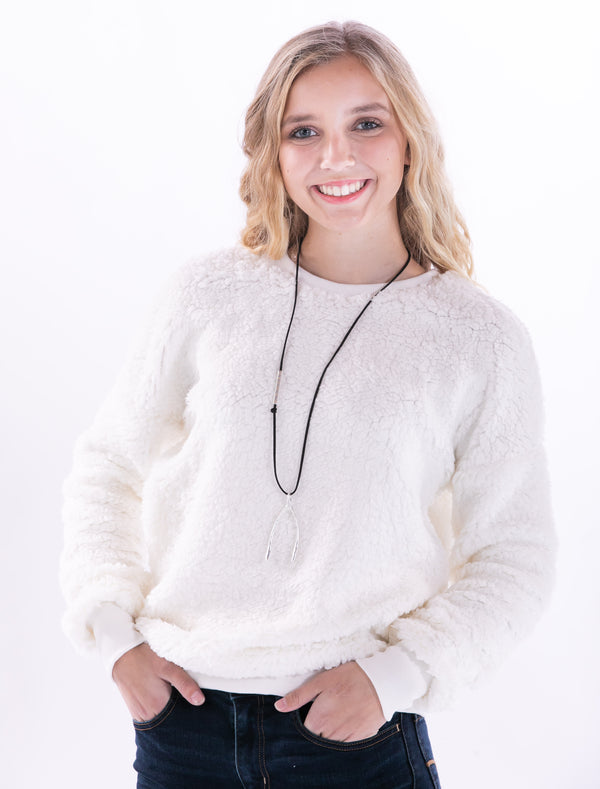 Ivory Crew Neck Fleece Sweater by Staccato - ShopMINQ