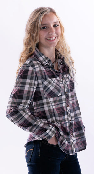 Olive/Rose Plaid Top by Staccato - ShopMINQ