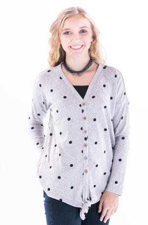Polka Dot Grey Hacci Sweater by Staccato - ShopMINQ