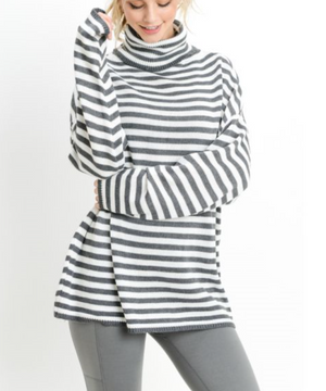 Turtle Neck Striped Sweater by MINQ - ShopMINQ