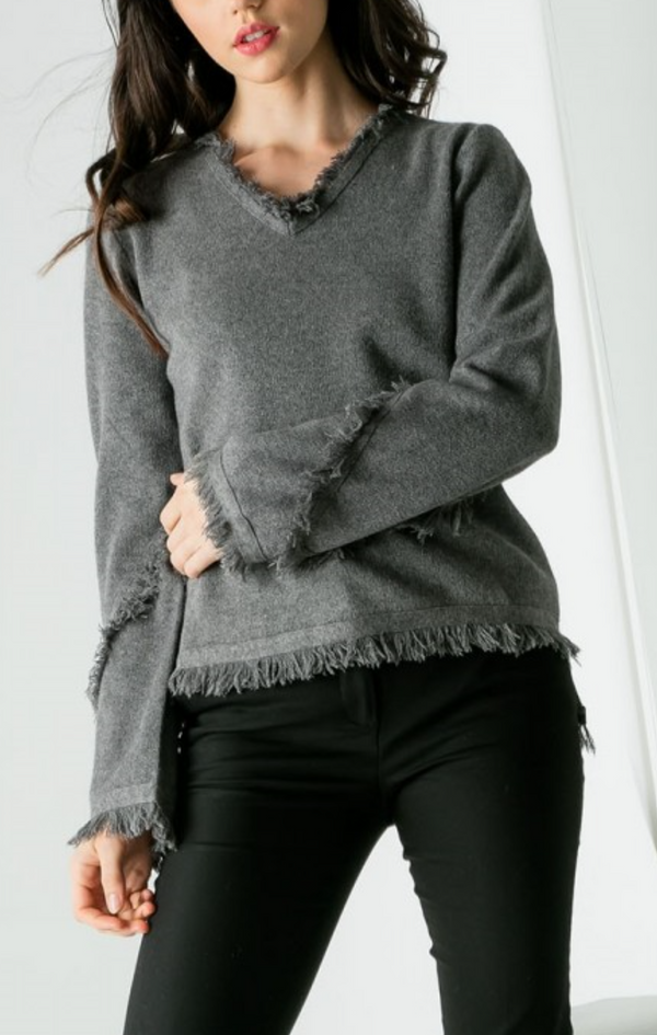 Fringe Knit Sweater by THML - ShopMINQ