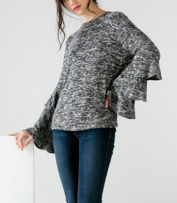 Ruffled Sleeve Sweater by THML - ShopMINQ