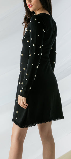 Long Sleeve Pearl Knit Dress by THML - ShopMINQ