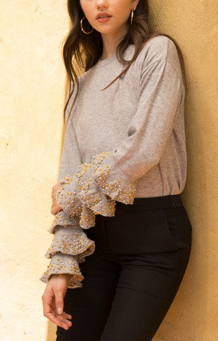 Ruffle Sleeve Sweater With Yellow and Crystal Beading Detail by THML - ShopMINQ