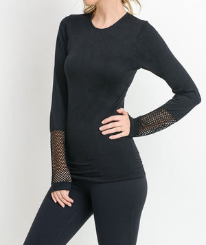 Fabulous Fishnet Back Black Long Sleeve Top by MINQ - ShopMINQ