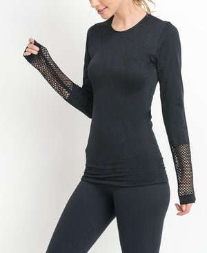 Fabulous Fishnet Back Long Sleeve Top - ShopMINQ
