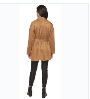 Faux Suede Sash Trench by Black Tape - ShopMINQ
