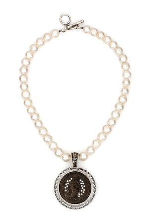 PEARLS WITH BLACK SWAROVSKI REX MEDALLION by French Kande