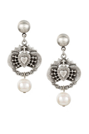 SILVER IMMACULATE HEART EARRINGS WITH PEARL by French Kande