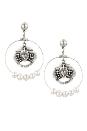 IMMACULATE HEART PENDANTS AND WHITE PEARL HOOP EARRINGS By French Kande