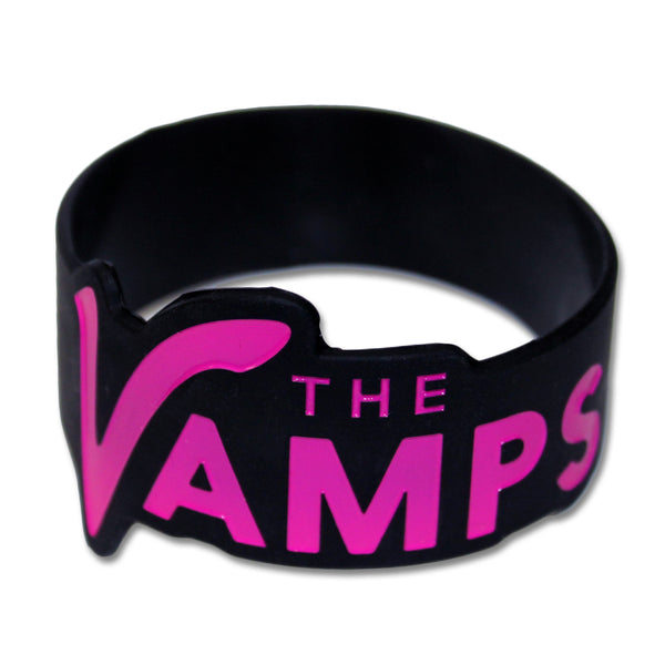 Pink & Black Silicone Wristband