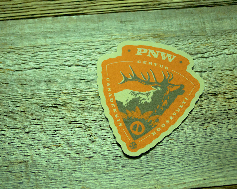 Roosevelt Elk Arrowhead Sticker