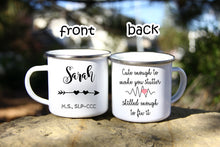 Load image into Gallery viewer, Speech Language Pathology Gift,SLP Gift,Slp Mug,Speech Therapy Mug,Gifts for Speech Therapist,Enamel camp Mug,Graduation Gift OC-SPL-03