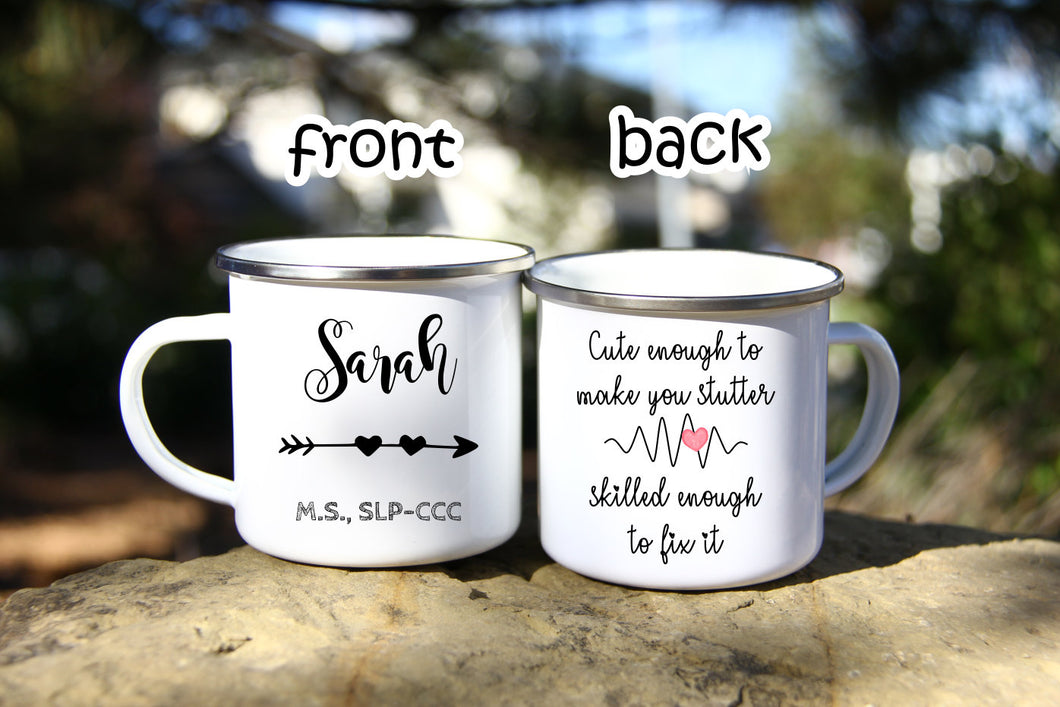 Speech Language Pathology Gift,SLP Gift,Slp Mug,Speech Therapy Mug,Gifts for Speech Therapist,Enamel camp Mug,Graduation Gift OC-SPL-03