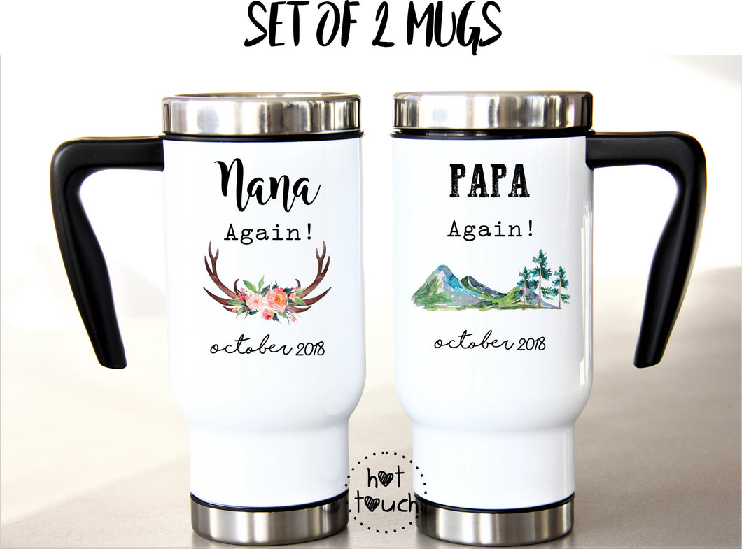 Set of Two Travel Mugs 17oz Plastic Interior for Grandparents, Nana Papa, Pregnancy Baby Reveal gifts FM-GG-04