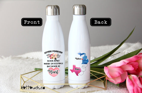 Sisters gift,Sister quote,never apart,together forever,Christmas gift Sister,High Quality Swell style bottle,moving away sister, LD-SS-001