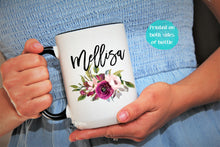Load image into Gallery viewer, Coffee Mug,Floral Mug,Personalized Gift,name Mug,Bridesmaid Gift,custom name mug NM-FL-01