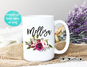 Coffee Mug,Floral Mug,Personalized Gift,name Mug,Bridesmaid Gift,custom name mug NM-FL-01