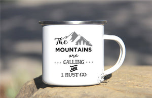 12oz Enamel Mug Camper, The Mountains Are Calling Adventure NT-MTN-01