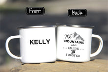 Load image into Gallery viewer, 12oz Enamel Mug Camper, The Mountains Are Calling Adventure NT-MTN-01