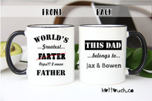 Load image into Gallery viewer, Dad Mug,World's greatest Farter mug,Funny Dad Mug,custom Mug,Funny Mug for Dad,Fathers Day Mug,Husband Gift,Gift for Fathers Day FM-DA-002