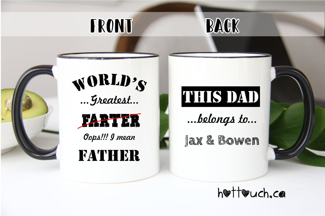 Dad Mug,World's greatest Farter mug,Funny Dad Mug,custom Mug,Funny Mug for Dad,Fathers Day Mug,Husband Gift,Gift for Fathers Day FM-DA-002