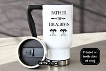 Load image into Gallery viewer, Father of Dragons Travel mug,Dragons mug,Dad Coffee mug,Fathers Day gift idea,Dad Christmas mug,TV show dad,Dragons dad,Dad gift FM-DA-19