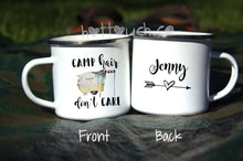 Load image into Gallery viewer, Camp hair dont care mug,Enamel mug,camp hair don't care,Camping van,camper mug,Personalized Enamel mug,Camping lover gift,camping NT-CMP-4