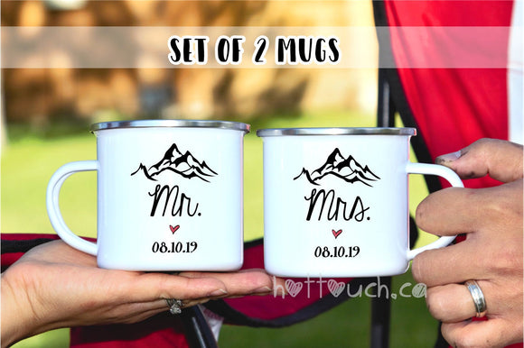 Mr Mrs mugs,Enamel mug couple,camper mug,camper mug set,Hubby Wifey mug,Campfire mug,Couple gift,Couple mug,Enamel camp Mug,his hers WD-BG-9