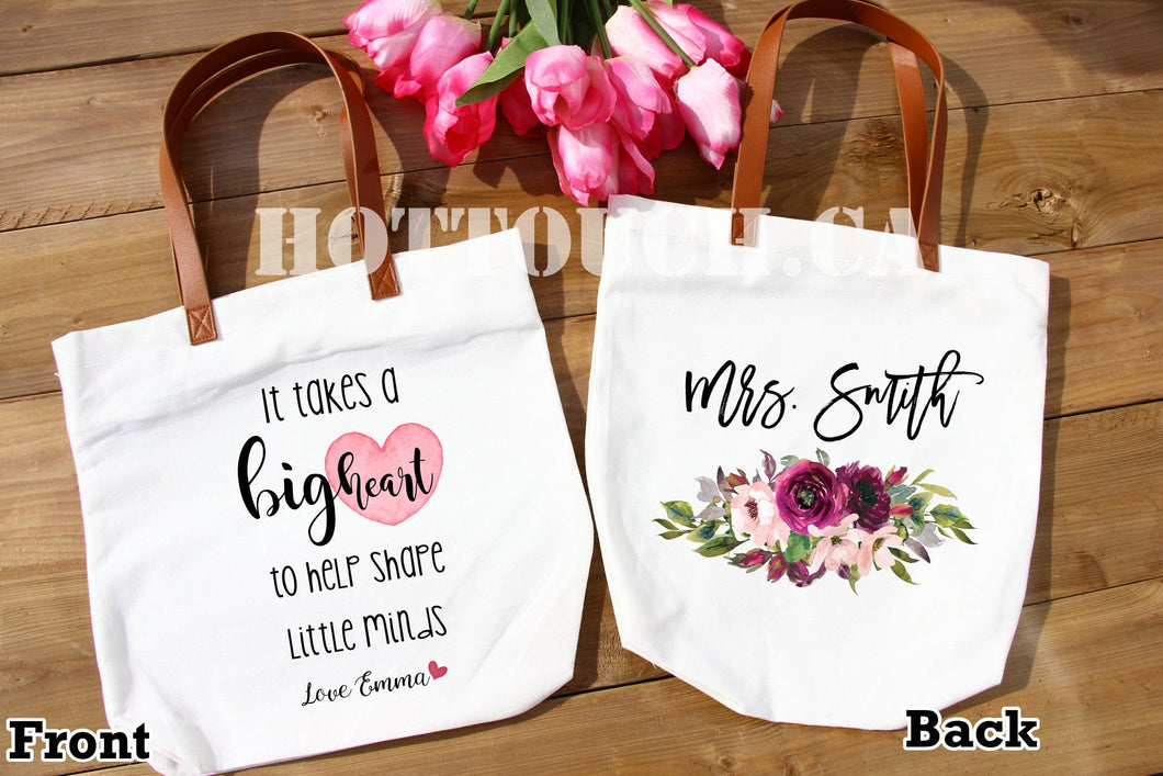 Teacher gifts,Teacher Tote bag,End of Year teacher gift,it takes a big heart to shape little minds,back to school,Personalized bag OC-TC-6