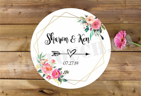 Wedding Favor stickers,Custom Wedding Stickers,Custom Wedding labels,Wedding thank you stickers,Floral wedding stickers,calligraphy WD-BG-18